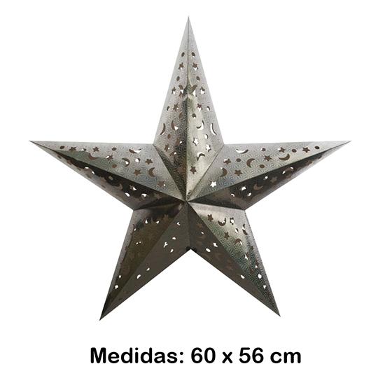 Luminária Estrela Grande Prata 60x56 cm