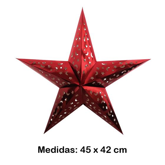 Luminária Estrela Média Vermelha 45x42 cm