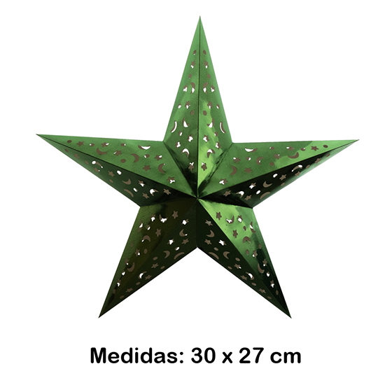 Luminária Estrela Pequena Verde 30x27 cm