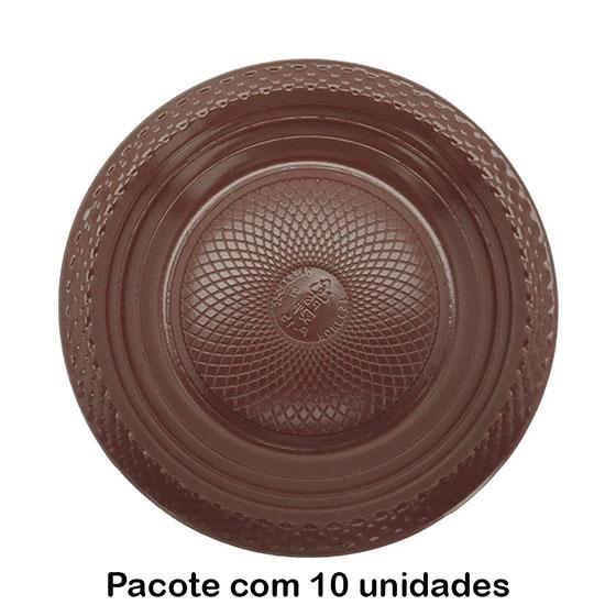 Prato de Bolo Descartável 15 cm Marrom - 10 unidades