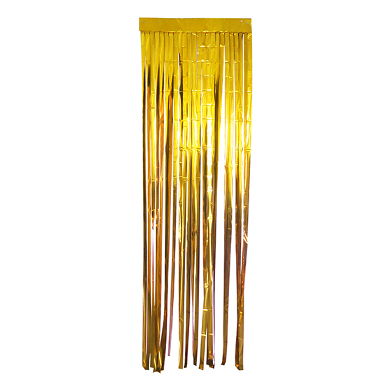 Cortina Metalizada Larga para Decoração Dourada