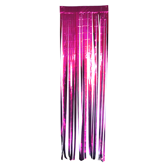 Cortina Metalizada Larga para Decoração Pink