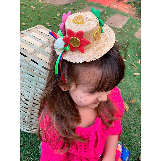 Chapéu de Palha Decorado Festa Junina Jasmin no Grampo