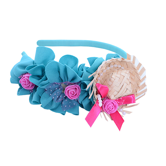 Tiara Mini Chapéu de Palha Baby Luxo