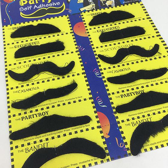 Cartela de Bigode Mustache Modelos Diversos - 12 unidades
