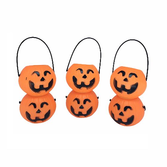 Mini Baldinho em Formato de Abóbora Halloween - 6 unidades