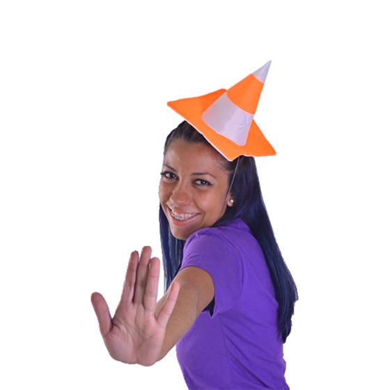 Mini Chapéu Cone Branco e Laranja Ref. 042B