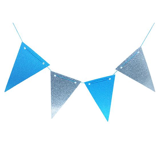 Flâmula EVA Glitter Azul/Prata C/5 Metros e 10 Flâmulas Ref. 214A