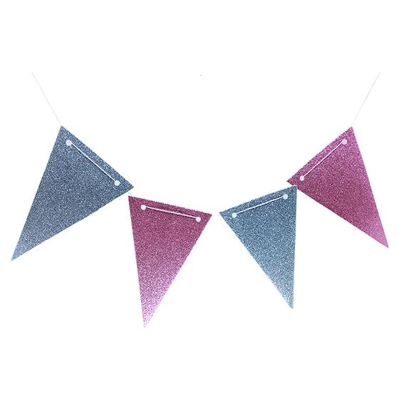 Flâmula EVA Glitter Rosa/Prata C/5 Metros e 10 Flâmulas Ref. 214B