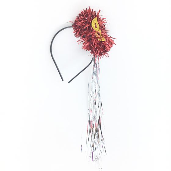 Tiara Pompom Laminada Vermelha Ref. 257F