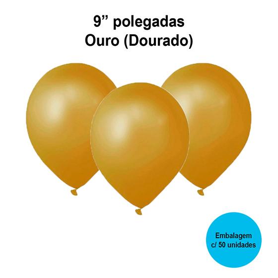 Balão Festball Perolizado Ouro 9'' Polegadas - 50 unidades