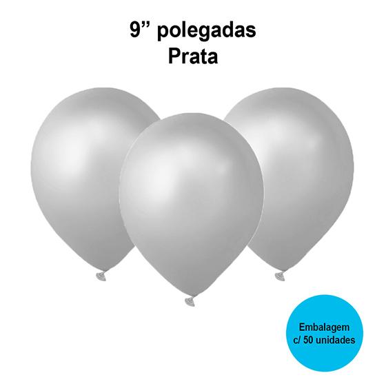 Balão Festball Perolizado Prata 9'' Polegadas - 50 unidades
