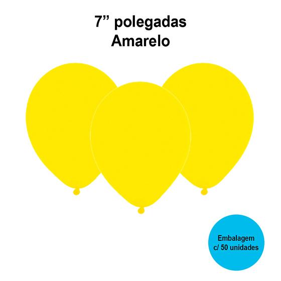 """Balão Festball Liso Amarelo 7"""" Polegadas - 50 unidades"""