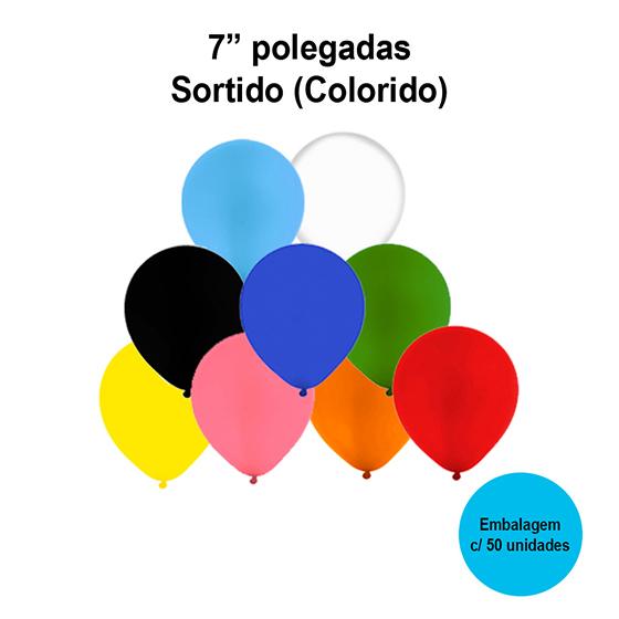 Balão Festball Liso Sortido (Colorido) 7'' Polegadas - 50 unidades
