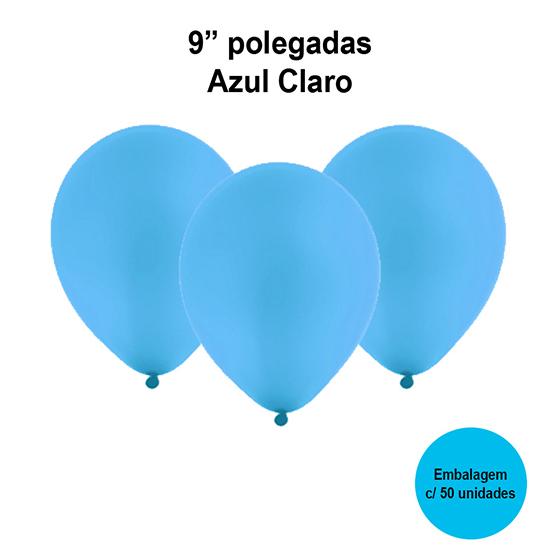 Balão Festball Liso Azul Claro 9'' Polegadas - 50 unidades