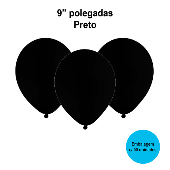 Balão Festball Liso Preto 9'' Polegadas - 50 unidades