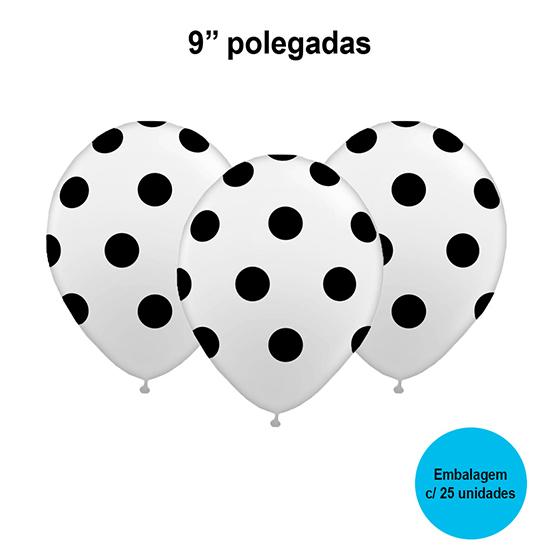 Balão Poá (bolinhas) Branco e Preto 9'' Polegadas - 25 unidades