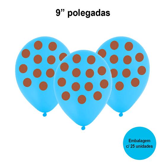 Balão Poá (bolinhas) Azul e Marrom 9'' Polegadas - 25 unidades