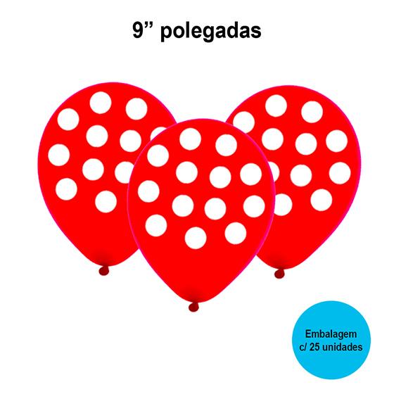 Balão Poá (bolinhas) Vermelho e Branco 9'' Polegadas - 25 unidades