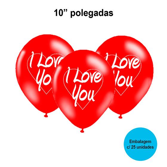 Balão Balloontech I Love You 10'' Polegadas - 25 unidades