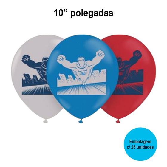 Balão Balloontech Super Heróis 10'' Polegadas - 25 unidades
