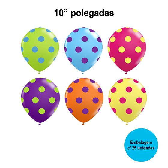Balão Balloontech Poá Colorido 10'' Polegadas