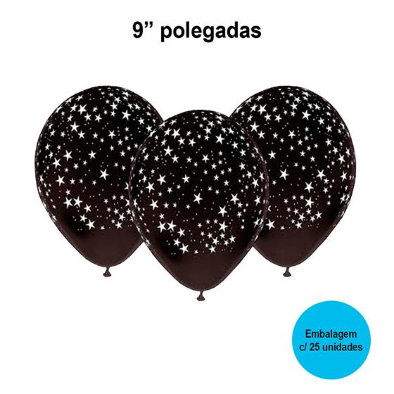 Balão Festball Estrela Preto e Branco 9'' Polegadas - 25 unidades
