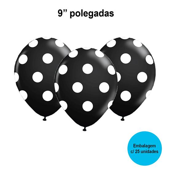 Balão Poá (bolinhas) Preto e Branco 9'' Polegadas - 25 unidades