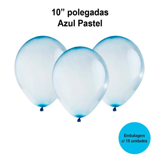 Balão Balloontech Cristal Azul Pastel 10'' Polegadas - 15 unidades