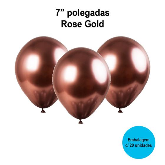 Balão Balloontech Chromium Rose Gold 7'' Polegadas - 20 unidades