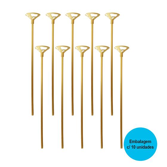 Vareta para Balão Dourada - 10 unidades