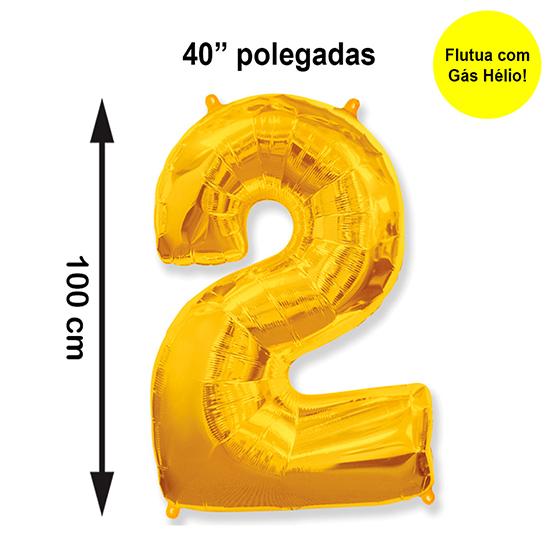 """Balão Metalizado Número 2 Dourado 40"""" polegadas"""