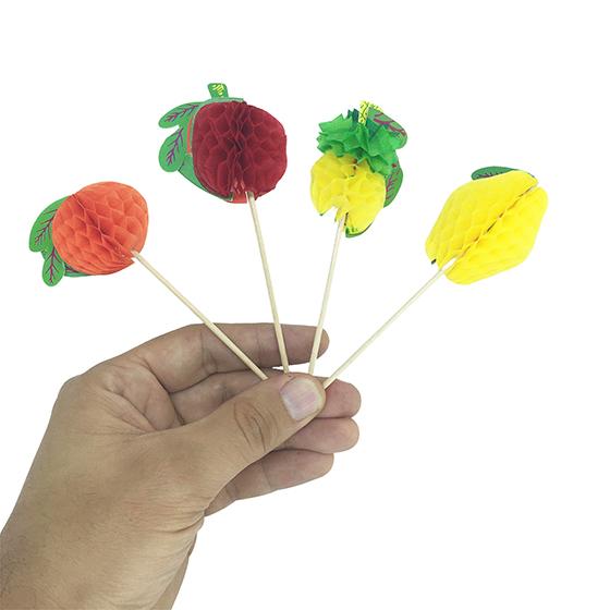 Palito Decorativo Frutas Origame - 12 unidades