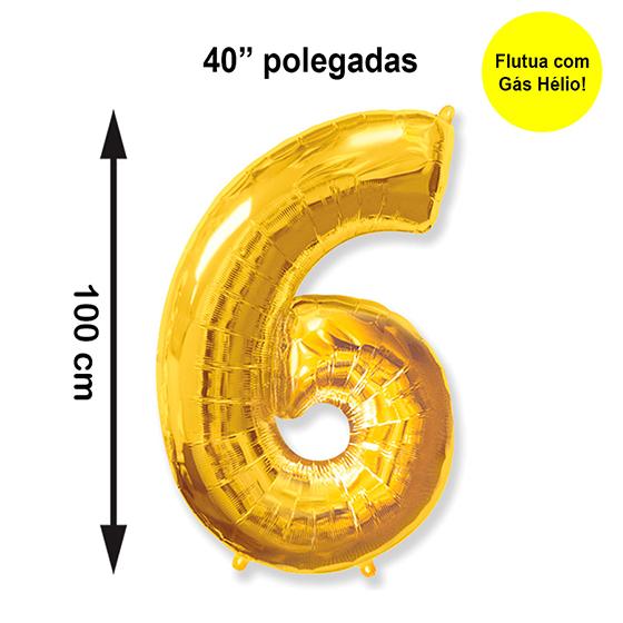 """Balão Metalizado Número 6 Dourado 40"""" polegadas"""