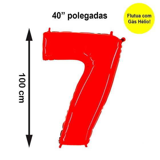"""Balão Metalizado Número 7 Vermelho 40"""" polegadas"""
