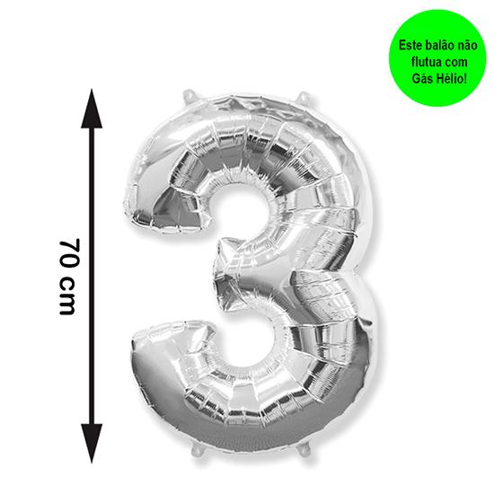 Balão Metalizado Número 3 Prata Médio
