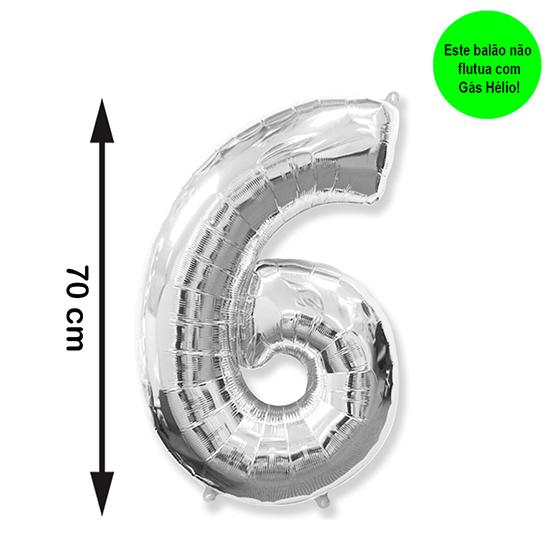 Balão Metalizado Número 6 Prata Médio