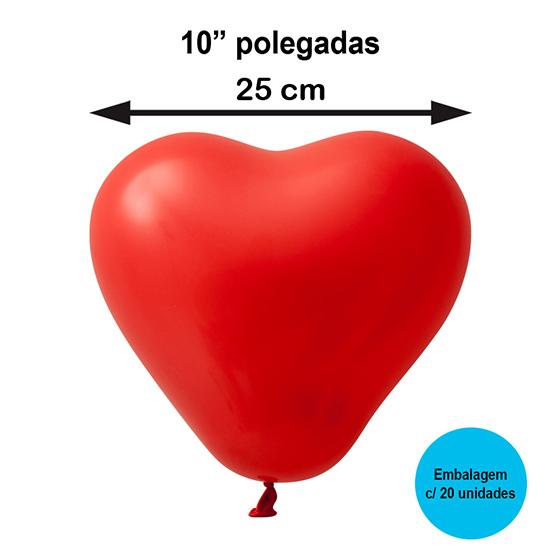 """Balão Festball Coração 10"""" Polegadas - 20 unidades"""