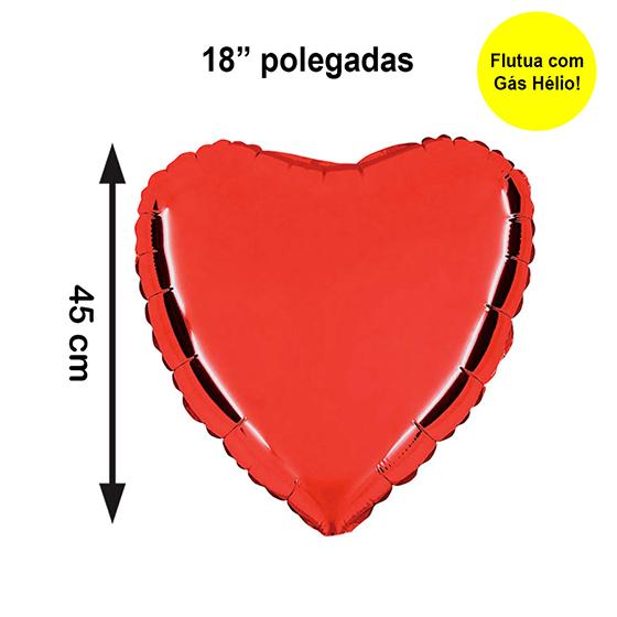 """Balão Metalizado Coração Vermelho 18"""" polegadas"""