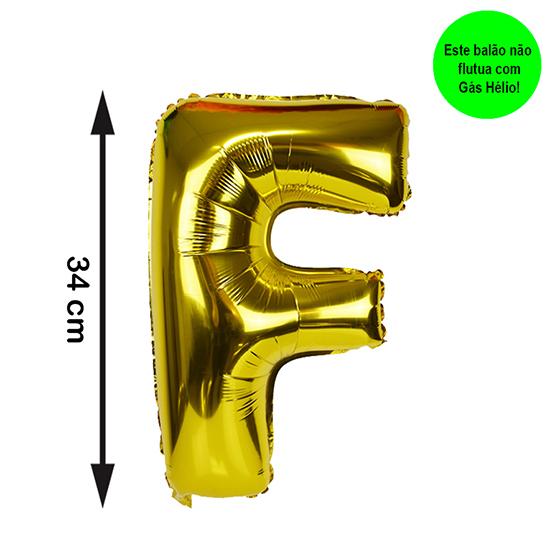 Balão Metalizado Letra F Dourada Pequena