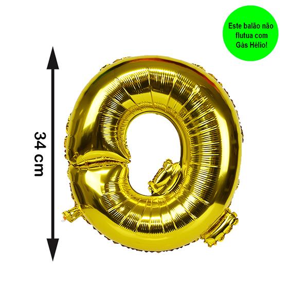 Balão Metalizado Letra Q Dourada Pequena