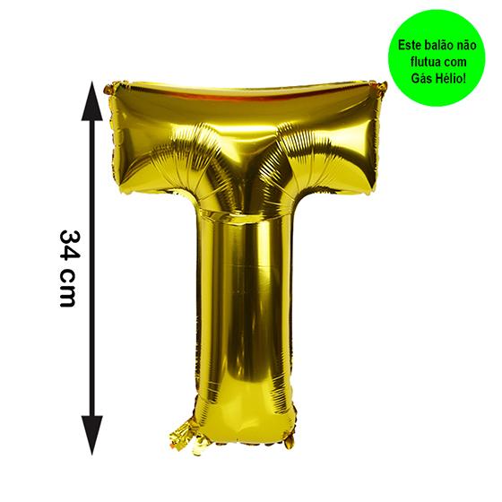Balão Metalizado Letra T Dourada Pequena
