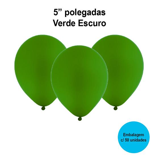 Balão Festball Liso Verde Escuro 5'' Polegadas - 50 unidades