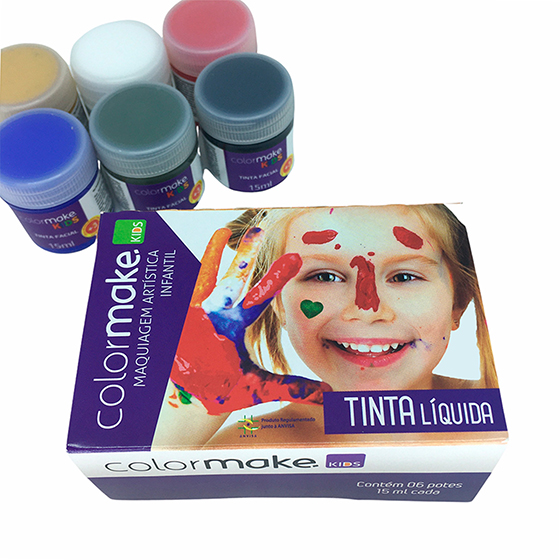 Tinta Líquida Kids Colormake 6 Cores - 15 ml (cada)