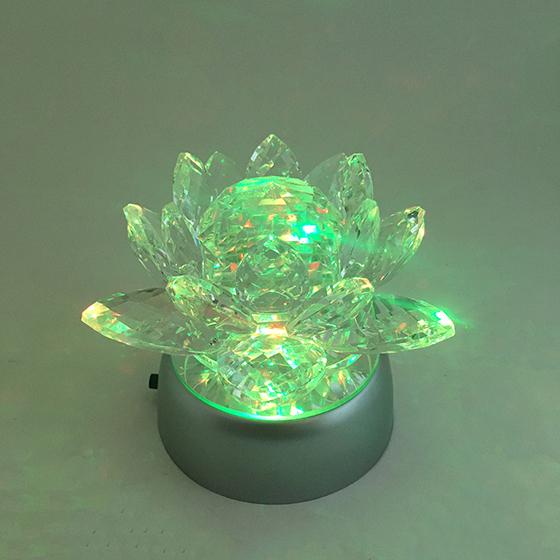 Flor de Lotus Cristal Decoração 13 cm com Base