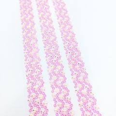 Aplique Auto Colante Cristal Rosa - Cartela