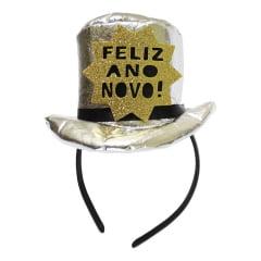 Tiara Mini Cartola Feliz Ano Novo Prata