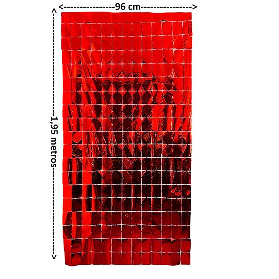 Cortina Metalizada Quadrados Efeito Shimmer Wall 96 cm x 1,95 metros