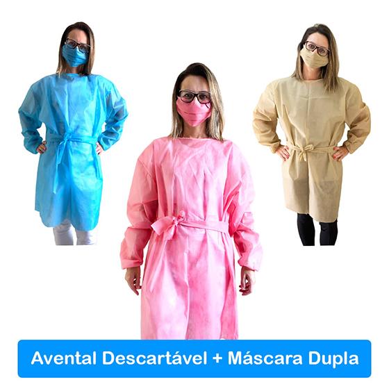 Kit Jaleco Avental Proteção Descartável (Máscara+Avental) Direto do Fabricante!