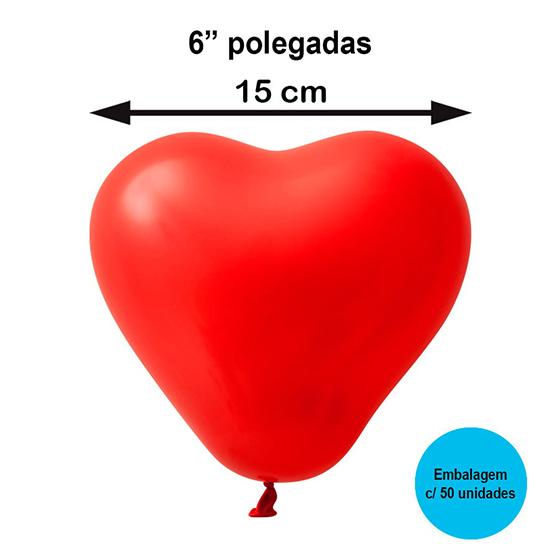 """Balão Festball Coração 6"""" Polegadas - 50 unidades"""